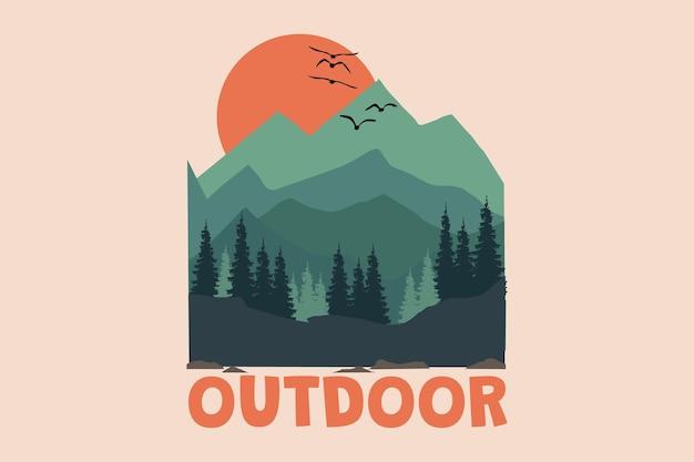Design de t-shirt com montanha ao ar livre lindo céu paisagem de pinheiros pôr do sol em estilo retro vintage