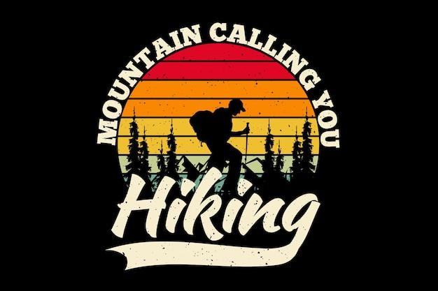 Design de t-shirt com silhueta caminhada montanha chamando pinheiro em estilo retro