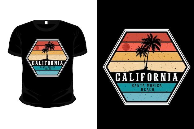 Design de t-shirt com silhueta de mercadoria de praia de santa monica na califórnia