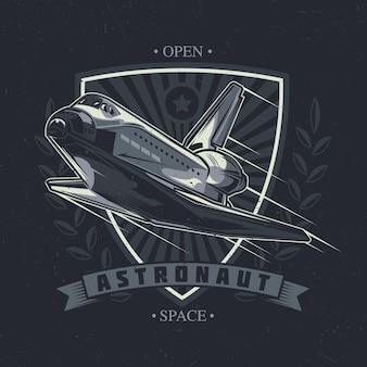 Design de t-shirt com tema espacial e ilustração de nave espacial