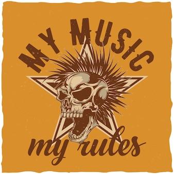 Design de t-shirt com tema musical com ilustração de crânio irritado com cabelo