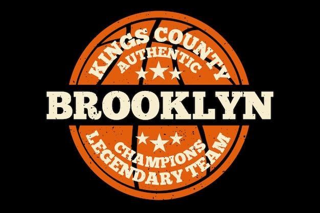 Design de t-shirt com tipografia futebol brooklyn campeões autênticos vintage Vetor Premium