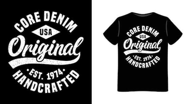 Design de t-shirt com tipografia original em denim