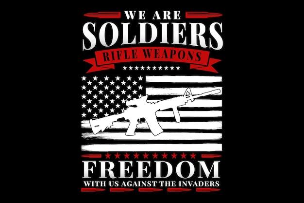 Design de t-shirt com tipografia soldados armas liberdade bandeira américa vintage