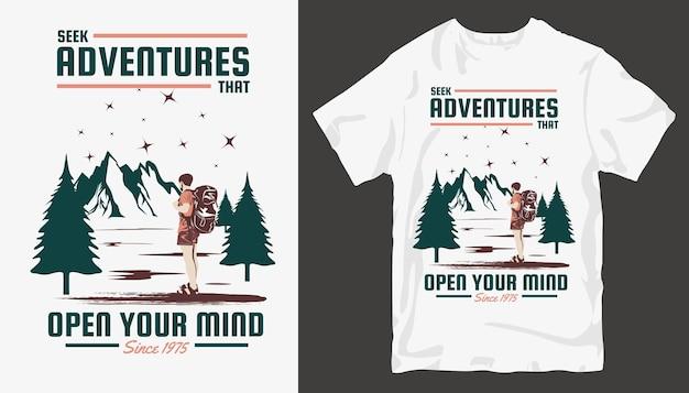 Design de t-shirt de aventura. design de camiseta ao ar livre. . cotações de viagens para camisetas