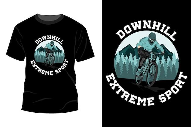Design de t-shirt de esporte radical downhill retro vintage