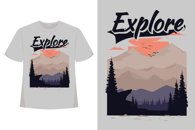 Design de t-shirt de explorar montanha natureza pinho sol verão plana vintage ilustração retro