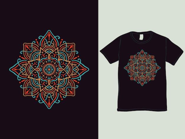 Design de t-shirt de mandala de flor colorida