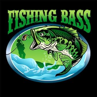 Design de t-shirt de peixe robalo de acabamento