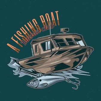 Design de t-shirt de tema náutico com ilustração de barco de pesca