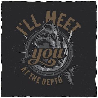 Design de t-shirt de tema náutico com ilustração de tubarão zangado