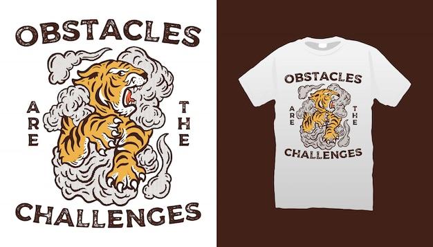 Design de t-shirt de tigre e nuvem