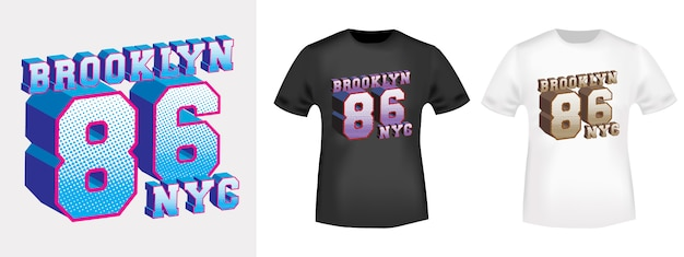 Design de t-shirt do brooklyn 86 nyc