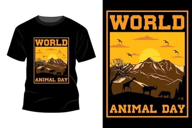 Design de t-shirt do dia mundial dos animais vintage retro