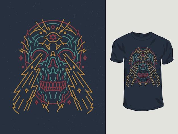Design de t-shirt monoline com caveira de olhos brilhantes