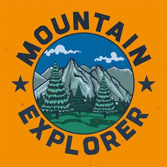 Design de t-shirt ou cartaz com ilustração de acampamento.