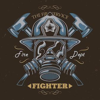 Design de t-shirt ou cartaz com ilustração de capacete com machados cruzados.