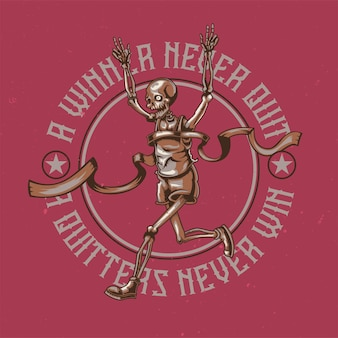 Design de t-shirt ou cartaz com ilustração de esqueleto em execução.