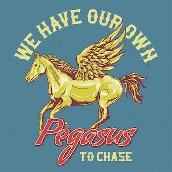 Design de t-shirt ou cartaz com ilustração de pégaso.