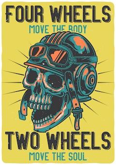 Design de t-shirt ou cartaz com ilustração de uma caveira com capacete.