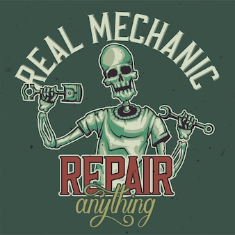 Design de t-shirt ou cartaz com ilustração do esqueleto do mecânico.