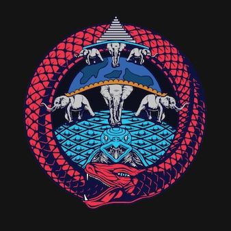 Design de t-shirt ouroborous