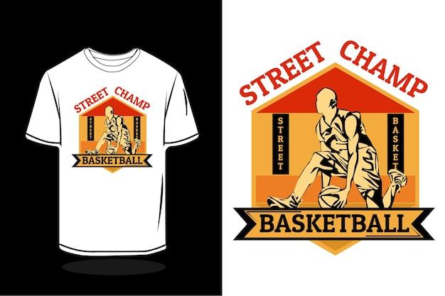 Design de t-shirt retro da silhueta do campeão de basquete de rua