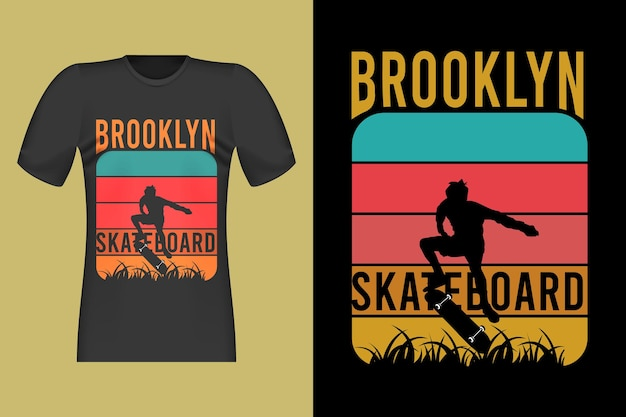 Design de t-shirt retro vintage de skate brooklyn