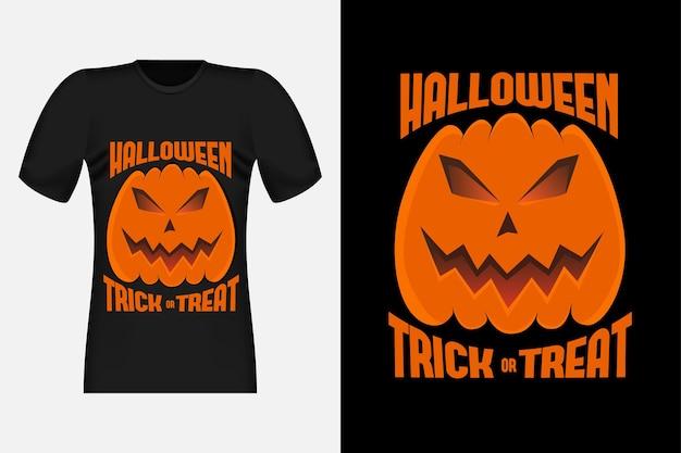 Design de t-shirt retro vintage doçura ou travessura de halloween