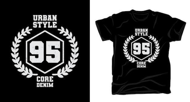 Design de t-shirt tipografia estilo urbano noventa e cinco
