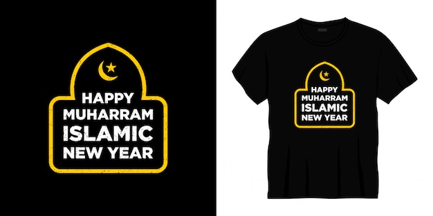 Design de t-shirt tipografia islâmica feliz muharram ano novo