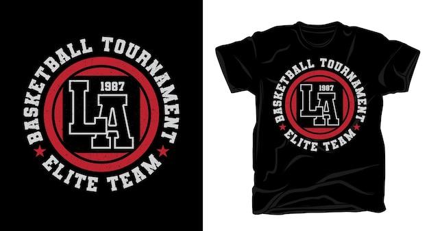 Design de t-shirt tipográfica do time elite do torneio de basquete de los angeles