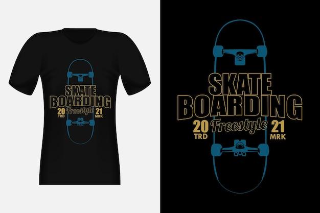 Design de t-shirt vintage da silhueta do estilo livre para skate