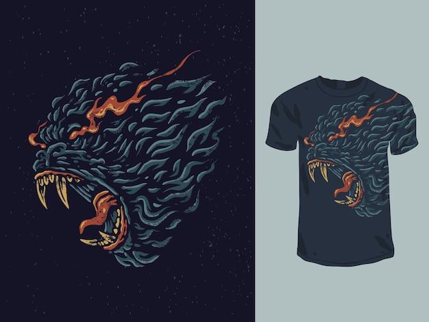 Design de t-shirt vintage de gorila flamejante irritado