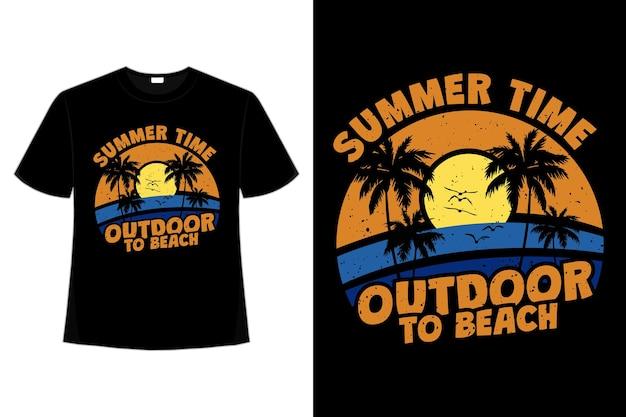 Design de t-shirt vintage de verão praia ao ar livre em estilo retro