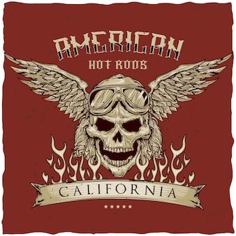 Design de t-shirt vintage hot rod com ilustração do crânio do motorista com óculos e asas.