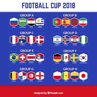 Design de taça de futebol de 2018 com grupos