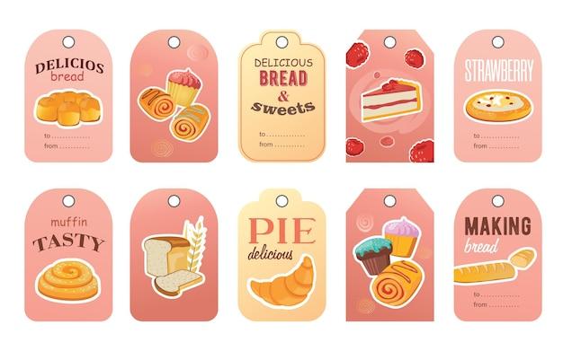 Design de tags de loja de padaria com deliciosos pães e doces. vários bolos saborosos com texto de saudação.