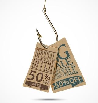 Design de tags de venda de estilo vintage