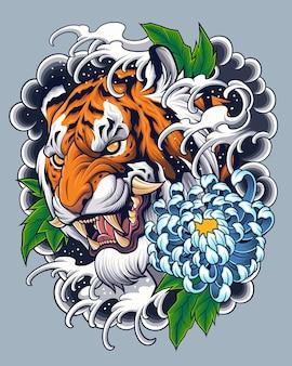 Design de tatuagem de cabeça de tigre