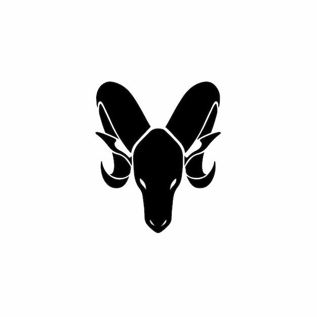 Design de tatuagem de logotipo de cabra e ilustração vetorial de estêncil