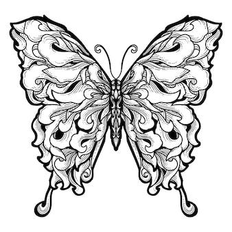 Design de tatuagem e camiseta premium borboleta