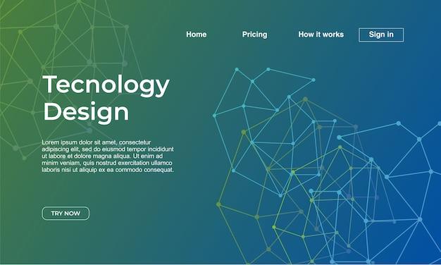 Design de tecnologia da página de destino com gradiente abstrata