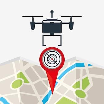 Design de tecnologia drone com ponto de mapa