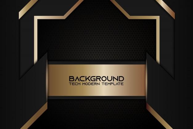 Design de tecnologia moderna de layout de quadro preto metálico abstrato dourado
