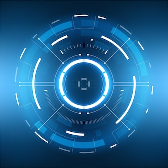 Design de tela da interface do hud do vetor futurista de ficção científica. tela do visor de tecnologia de realidade virtual