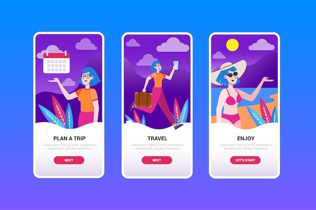 Design de tela de aplicativo de integração de viagens
