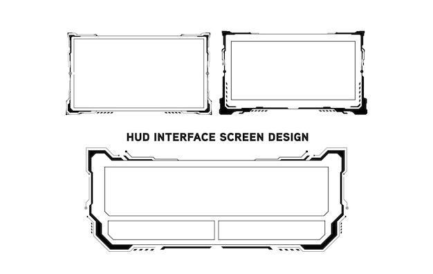 Design de tela de interface futurista do hud. títulos de textos explicativos digitais. conjunto de elementos de tela de interface de usuário futurista de hud ui gui. tela de alta tecnologia para videogame. projeto de conceito de ficção científica.