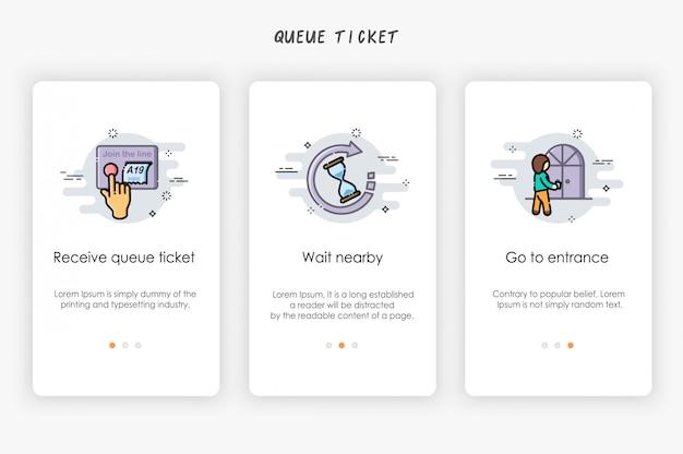 Design de telas integradas no conceito de ticket de fila de recebimento. como receber fila.