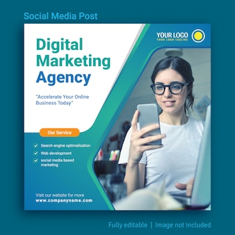 Design de template de publicidade para agência de marketing online de mídia social